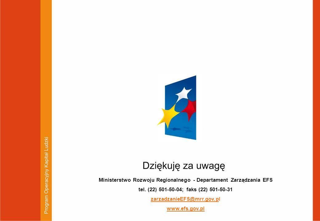 Ministerstwo Rozwoju Regionalnego - Departament Zarządzania EFS tel. (22) 501-50-04; faks (22) 501-50-31 zarzadzanieEFS@mrr.gov.pl www.efs.gov.pl