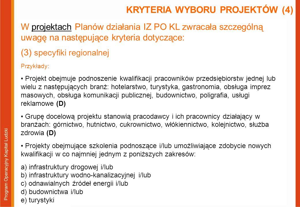 W projektach Planów działania IZ PO KL zwracała szczególną uwagę na następujące kryteria dotyczące: (3) specyfiki regionalnej Przykłady: Projekt obejm
