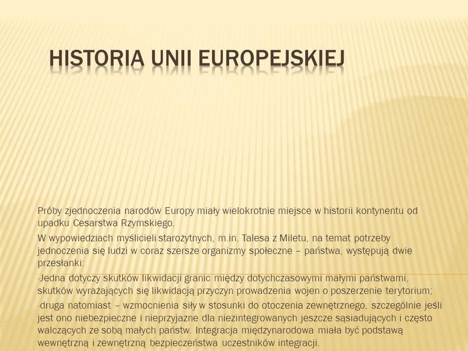 Próby zjednoczenia narodów Europy miały wielokrotnie miejsce w historii kontynentu od upadku Cesarstwa Rzymskiego.