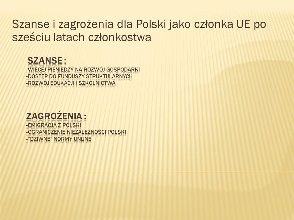 Szanse i zagrożenia dla Polski jako członka UE po sześciu latach członkostwa