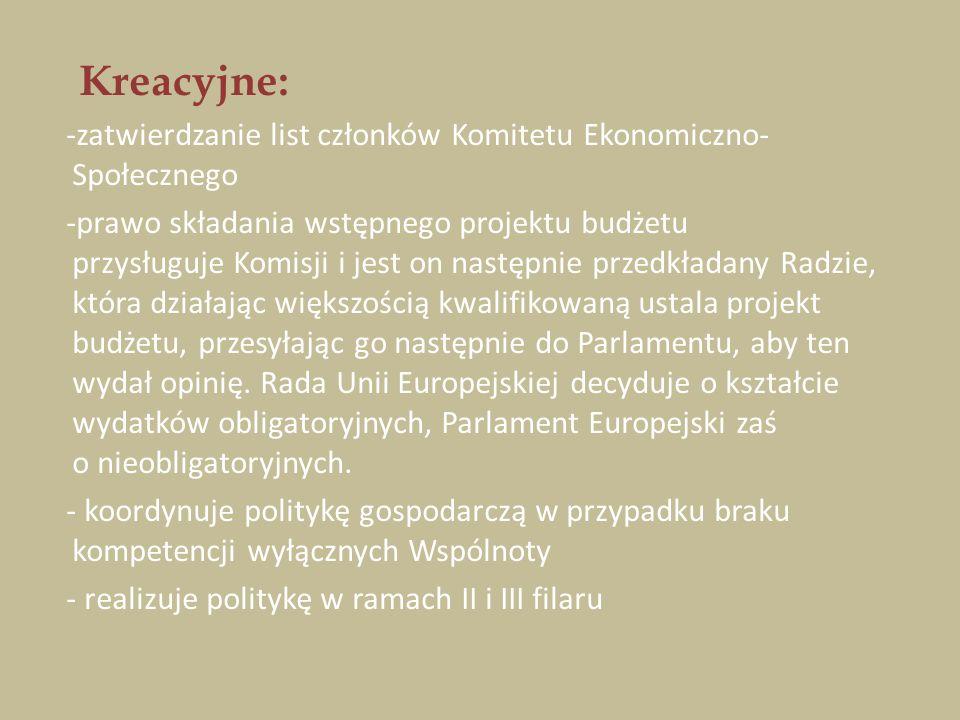 Kreacyjne: -zatwierdzanie list członków Komitetu Ekonomiczno- Społecznego -prawo składania wstępnego projektu budżetu przysługuje Komisji i jest on na