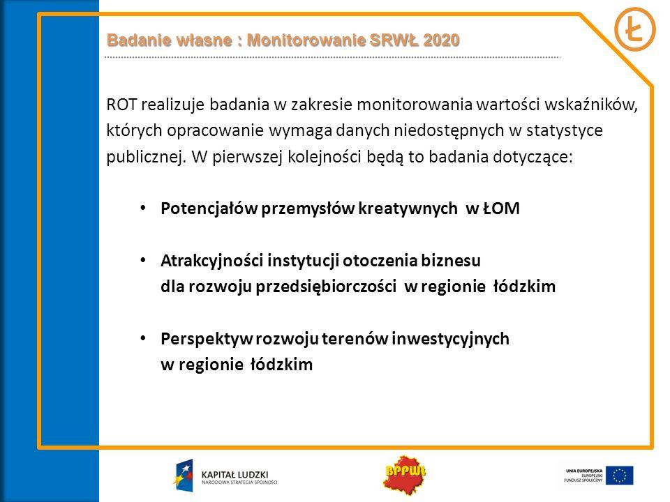 Badanie własne : Monitorowanie SRWŁ 2020 ROT realizuje badania w zakresie monitorowania wartości wskaźników, których opracowanie wymaga danych niedost