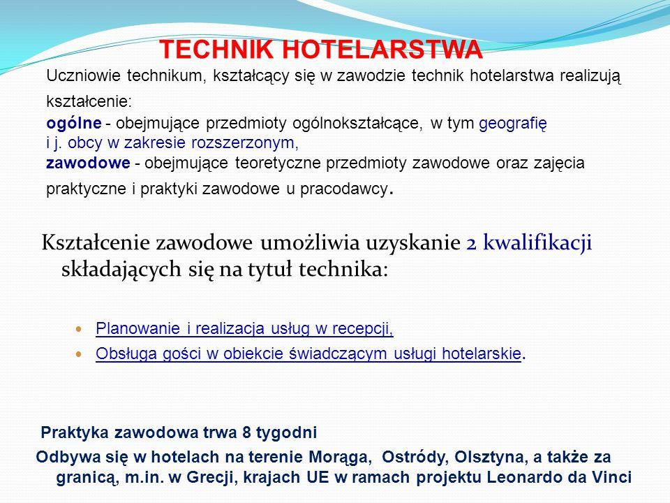 Miejsca pracy w zawodzie technik hotelarstwa: Hotele i inne rodzaje zakładów hotelarskich Biura turystyczne Urzędy samorządowe na stanowiskach wymagających wiedzy w zakresie hotelarstwa i turystyki Własna firma Kształcenie umożliwia absolwentom: kontynuowanie nauki na wyższych uczelniach, sprawne komunikowanie się w języku obcym zawodowym, organizowanie usług turystycznych i rekreacyjnych W związku z elektronicznym naborem proszę uwzględnić oznaczenie oddziałów poszczególnych typów szkół: kl.