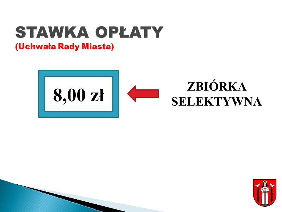 STAWKA OPŁATY (Uchwała Rady Miasta) ZBIÓRKA SELEKTYWNA 8,00 zł