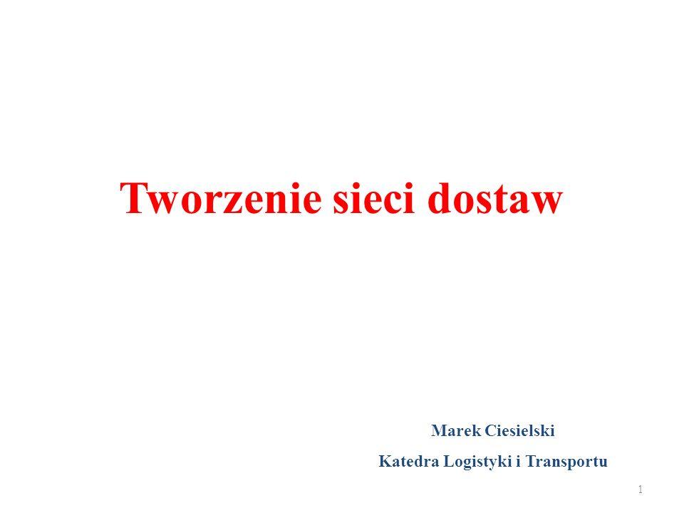 Tworzenie sieci dostaw Marek Ciesielski Katedra Logistyki i Transportu 1