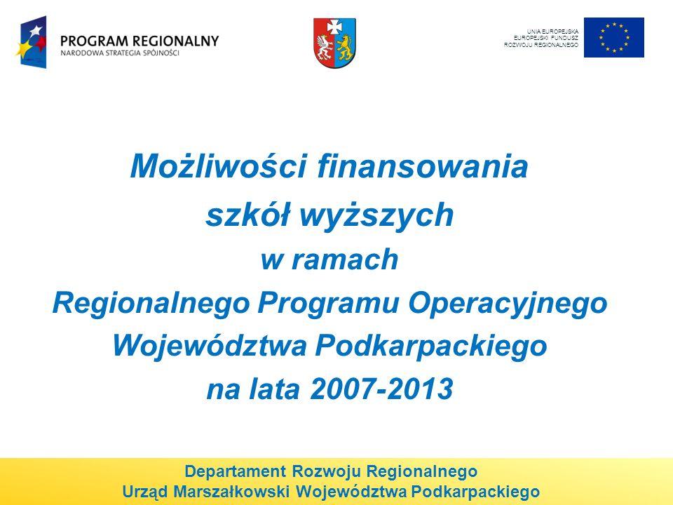 Możliwości finansowania szkół wyższych w ramach Regionalnego Programu Operacyjnego Województwa Podkarpackiego na lata 2007-2013 UNIA EUROPEJSKA EUROPEJSKI FUNDUSZ ROZWOJU REGIONALNEGO Departament Rozwoju Regionalnego Urząd Marszałkowski Województwa Podkarpackiego
