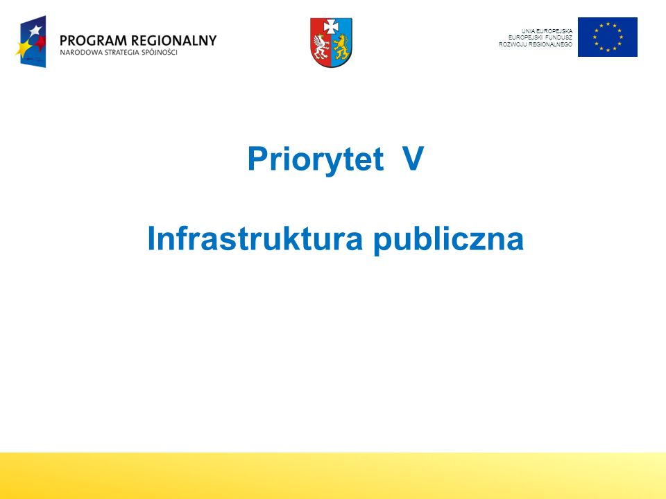 Priorytet V Infrastruktura publiczna UNIA EUROPEJSKA EUROPEJSKI FUNDUSZ ROZWOJU REGIONALNEGO