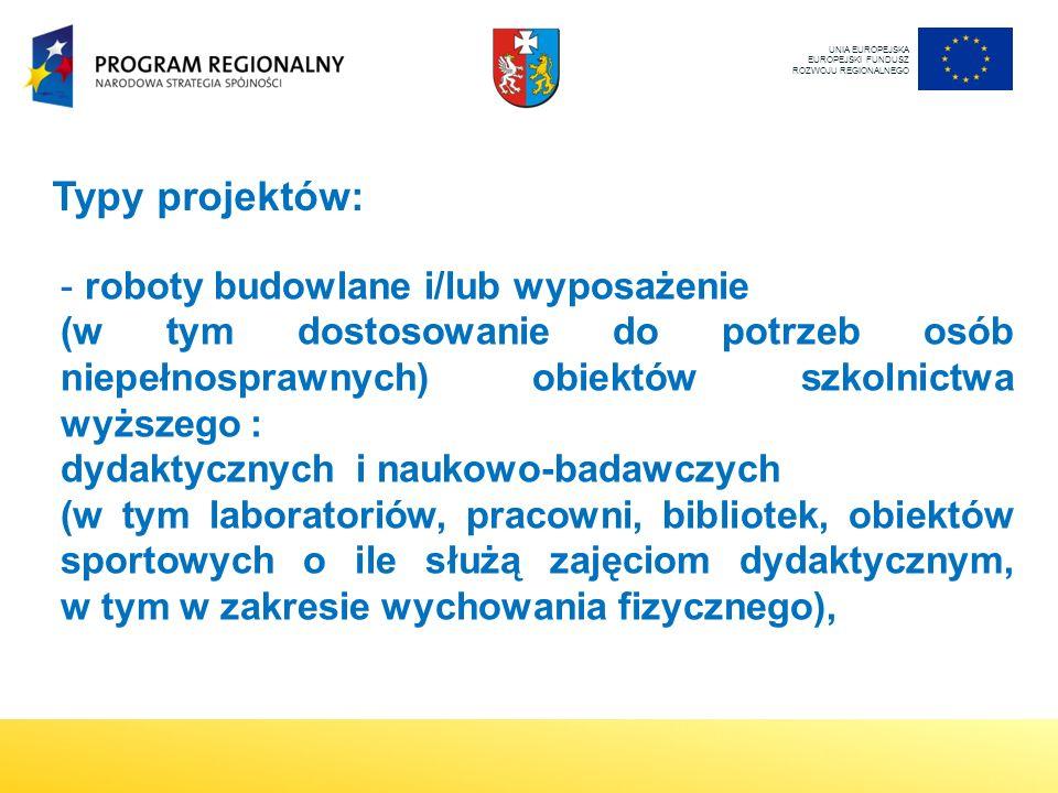- roboty budowlane i/lub wyposażenie (w tym dostosowanie do potrzeb osób niepełnosprawnych) obiektów szkolnictwa wyższego : dydaktycznych i naukowo-badawczych (w tym laboratoriów, pracowni, bibliotek, obiektów sportowych o ile służą zajęciom dydaktycznym, w tym w zakresie wychowania fizycznego), UNIA EUROPEJSKA EUROPEJSKI FUNDUSZ ROZWOJU REGIONALNEGO Typy projektów: