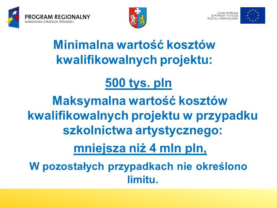 Minimalna wartość kosztów kwalifikowalnych projektu: 500 tys.