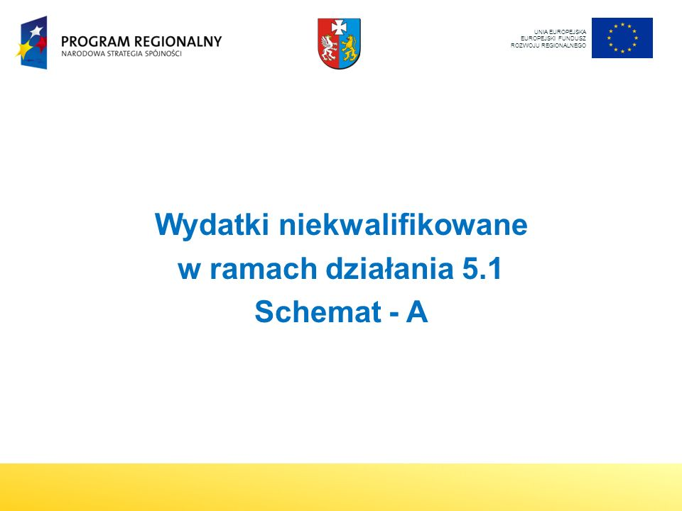 UNIA EUROPEJSKA EUROPEJSKI FUNDUSZ ROZWOJU REGIONALNEGO Wydatki niekwalifikowane w ramach działania 5.1 Schemat - A