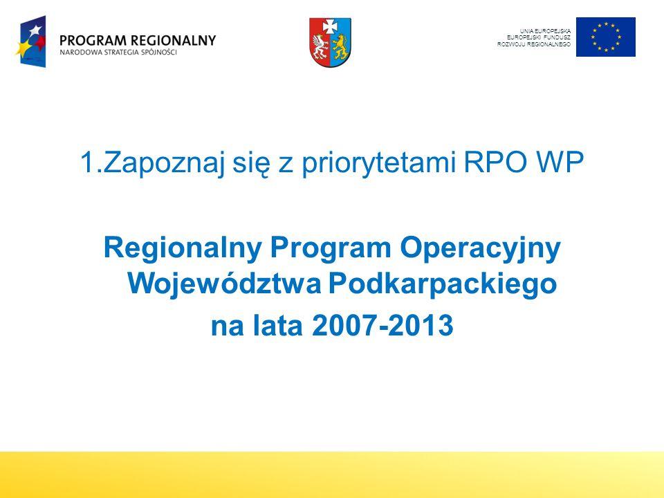 1.Zapoznaj się z priorytetami RPO WP Regionalny Program Operacyjny Województwa Podkarpackiego na lata 2007-2013 UNIA EUROPEJSKA EUROPEJSKI FUNDUSZ ROZWOJU REGIONALNEGO