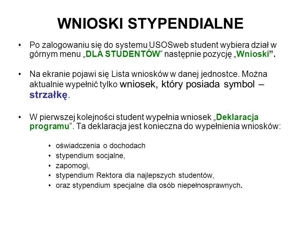 WNIOSKI STYPENDIALNE Po zalogowaniu się do systemu USOSweb student wybiera dział w górnym menu DLA STUDENTÓW następnie pozycję Wnioski. Na ekranie poj