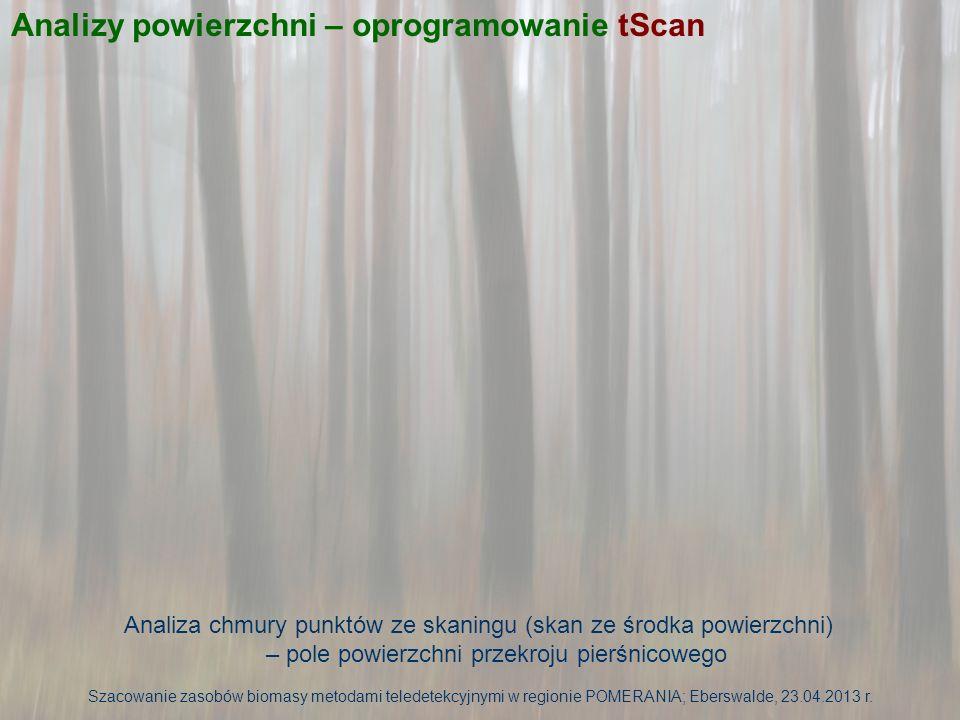 Analiza chmury punktów ze skaningu (skan ze środka powierzchni) – pole powierzchni przekroju pierśnicowego Szacowanie zasobów biomasy metodami teledet