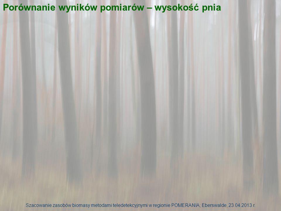 Szacowanie zasobów biomasy metodami teledetekcyjnymi w regionie POMERANIA; Eberswalde, 23.04.2013 r. Porównanie wyników pomiarów – wysokość pnia
