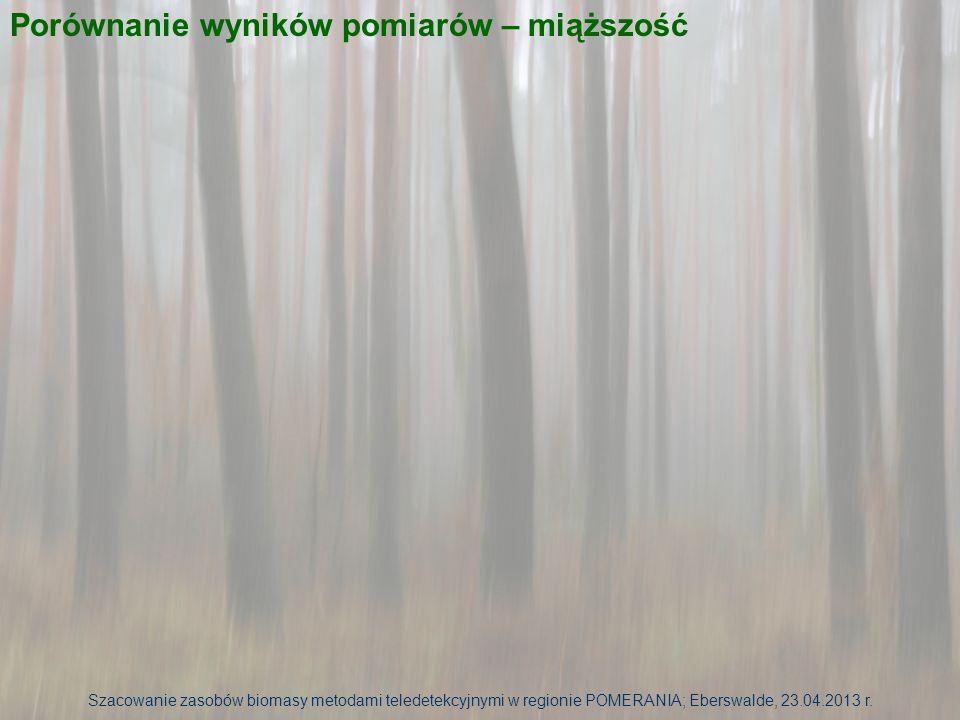 Szacowanie zasobów biomasy metodami teledetekcyjnymi w regionie POMERANIA; Eberswalde, 23.04.2013 r. Porównanie wyników pomiarów – miąższość