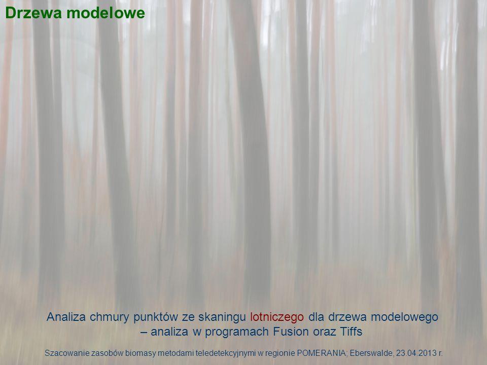 Nr drzewa Wysokość [m] Wysokość osadzenia pierwszej żywej gałęzi [m] Wysokość FUSION [m] Wysokość osadzenia pierwszej żywej gałęzi FUSION [m] Różnica wysokości [m] Różnica wysokości osadzenia pierwszej żywej gałęzi [m] 4919,912,919,9212,32-0,020,58 5323,313,622,5913,390,710,21 7423,213,122,4114,210,79-1,11 12623,415,122,5715,870,83-0,77 13121,718,821,6018,300,110,50 14221,314,519,9714,481,330,02 14721,614,521,0515,550,55-1,05 16622,115,921,4415,140,660,76 17620,214,619,8012,000,402,60 20824,112,123,1813,380,92-1,28 Maksimum1,332,60 Minimum0,02 Średnia0,630,89 Szacowanie zasobów biomasy metodami teledetekcyjnymi w regionie POMERANIA; Eberswalde, 23.04.2013 r.