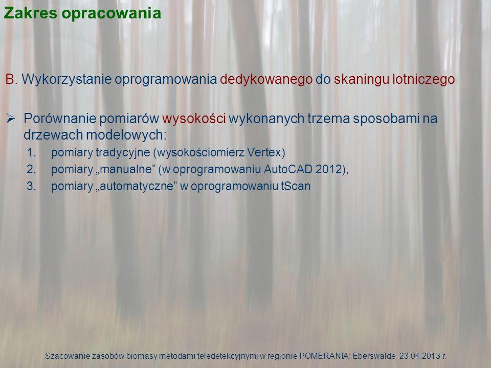Analizy powierzchni Wizualizacja chmury punktów ze skaningu (skan ze środka powierzchni) – obraz intensywności chmury punktów Szacowanie zasobów biomasy metodami teledetekcyjnymi w regionie POMERANIA; Eberswalde, 23.04.2013 r.
