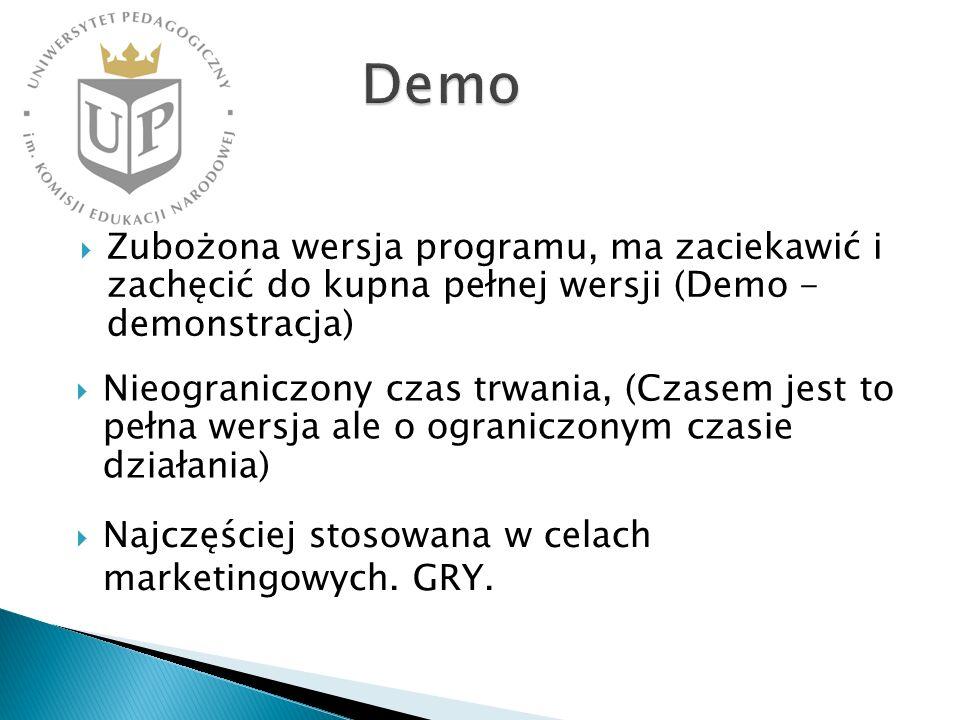 Zubożona wersja programu, ma zaciekawić i zachęcić do kupna pełnej wersji (Demo - demonstracja) Nieograniczony czas trwania, (Czasem jest to pełna wer