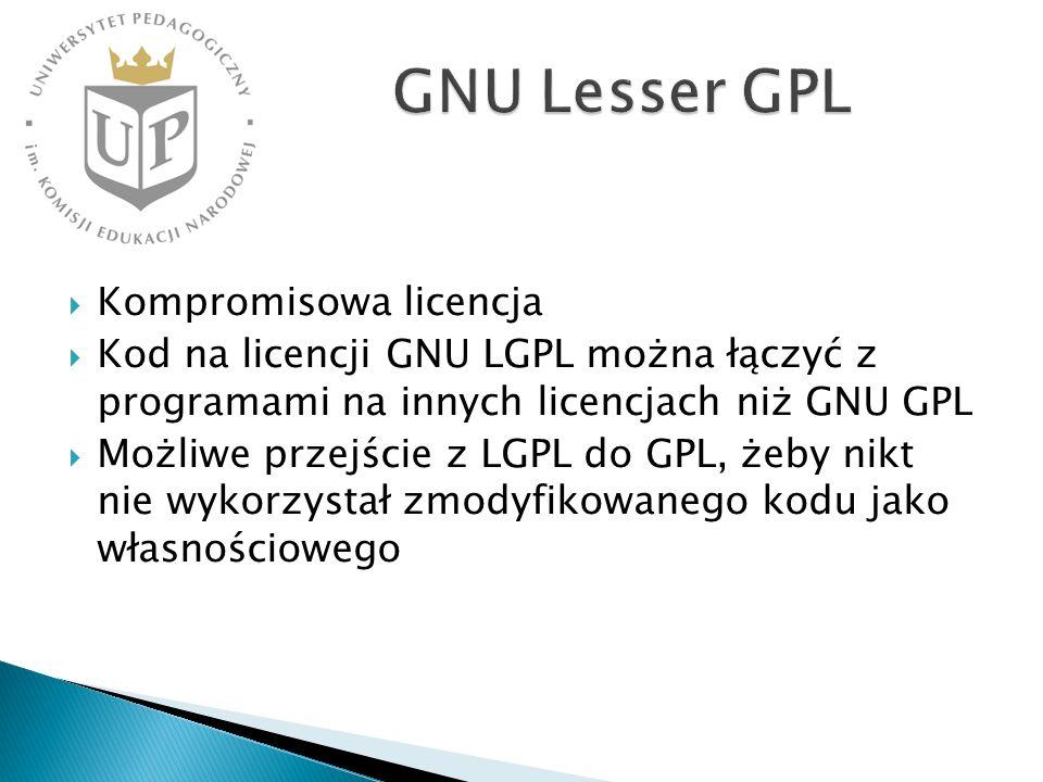 Kompromisowa licencja Kod na licencji GNU LGPL można łączyć z programami na innych licencjach niż GNU GPL Możliwe przejście z LGPL do GPL, żeby nikt n