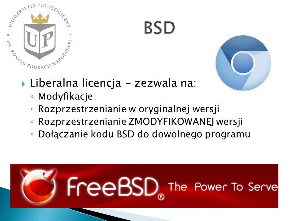 Liberalna licencja – zezwala na: Modyfikacje Rozprzestrzenianie w oryginalnej wersji Rozprzestrzenianie ZMODYFIKOWANEJ wersji Dołączanie kodu BSD do dowolnego programu