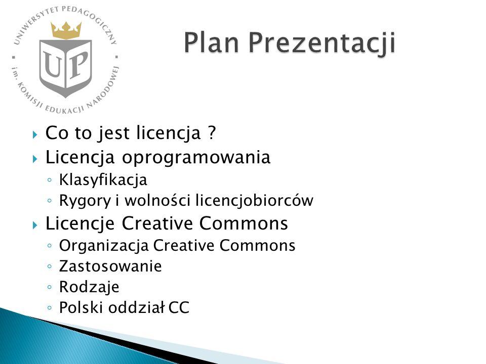 Co to jest licencja ? Licencja oprogramowania Klasyfikacja Rygory i wolności licencjobiorców Licencje Creative Commons Organizacja Creative Commons Za