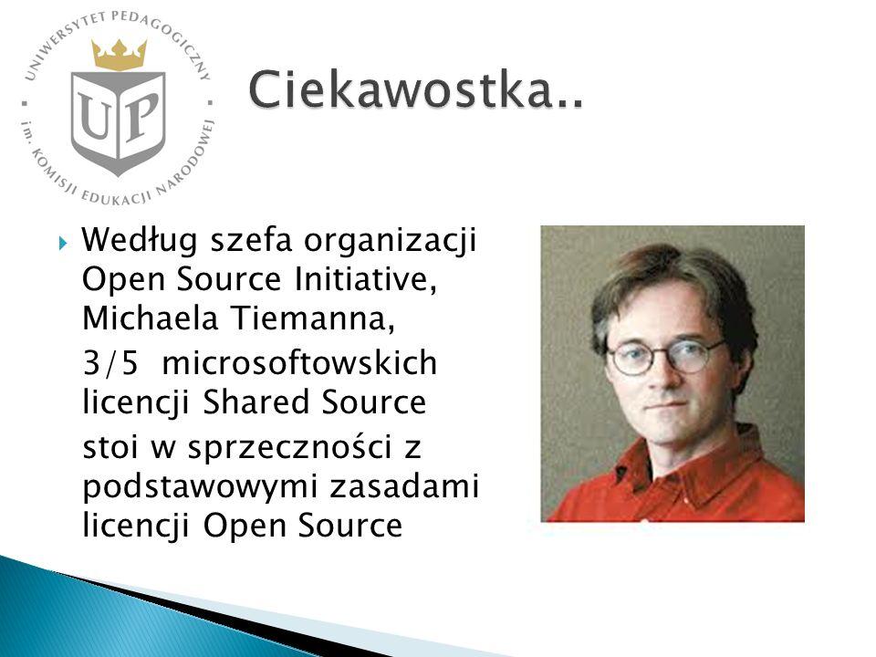 Według szefa organizacji Open Source Initiative, Michaela Tiemanna, 3/5 microsoftowskich licencji Shared Source stoi w sprzeczności z podstawowymi zas