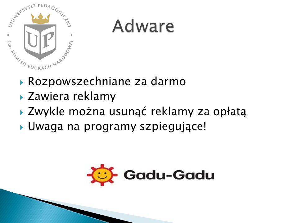 Rozpowszechniane za darmo Zawiera reklamy Zwykle można usunąć reklamy za opłatą Uwaga na programy szpiegujące!
