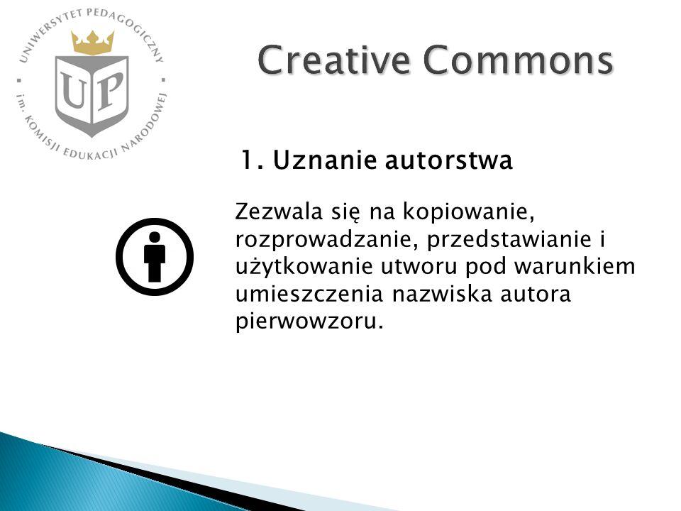 Creative Commons Zezwala się na kopiowanie, rozprowadzanie, przedstawianie i użytkowanie utworu pod warunkiem umieszczenia nazwiska autora pierwowzoru.