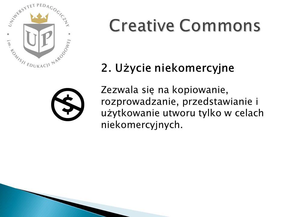 Creative Commons Zezwala się na kopiowanie, rozprowadzanie, przedstawianie i użytkowanie utworu tylko w celach niekomercyjnych. 2. Użycie niekomercyjn