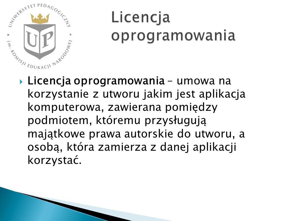 Licencja oprogramowania – umowa na korzystanie z utworu jakim jest aplikacja komputerowa, zawierana pomiędzy podmiotem, któremu przysługują majątkowe