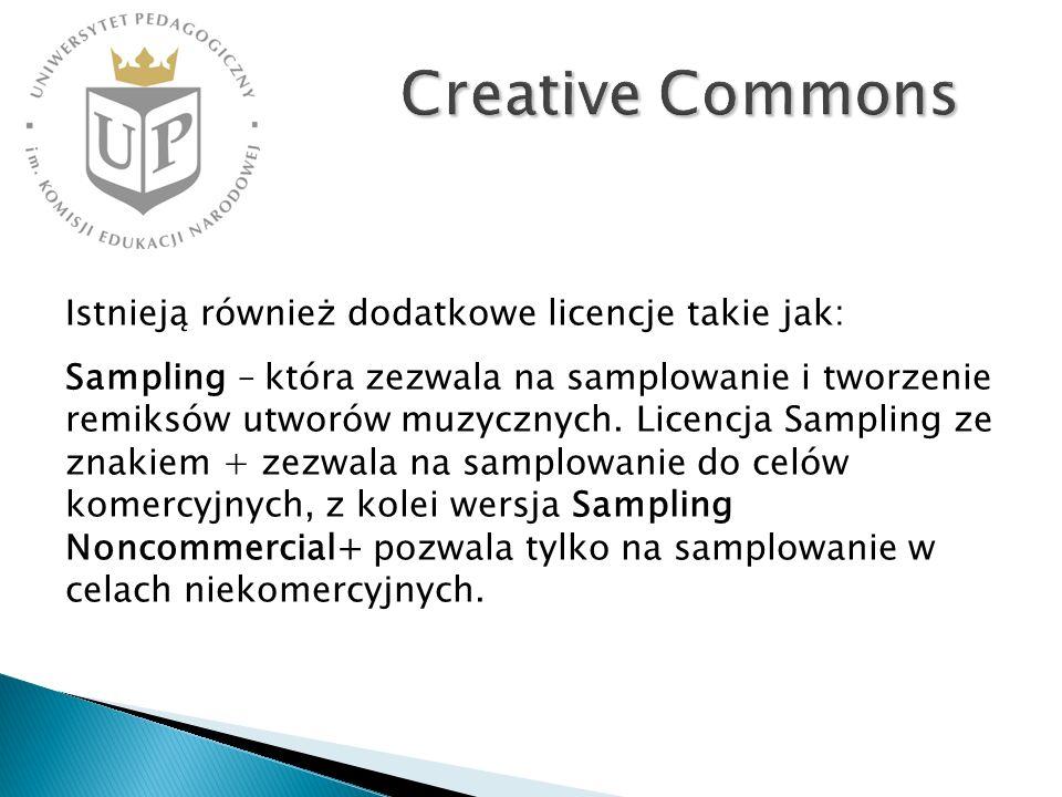 Creative Commons Istnieją również dodatkowe licencje takie jak: Sampling – która zezwala na samplowanie i tworzenie remiksów utworów muzycznych. Licen