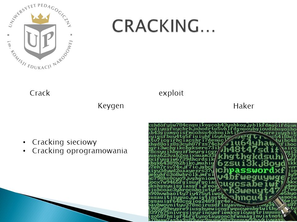 Crack Keygen Haker exploit Cracking sieciowy Cracking oprogramowania