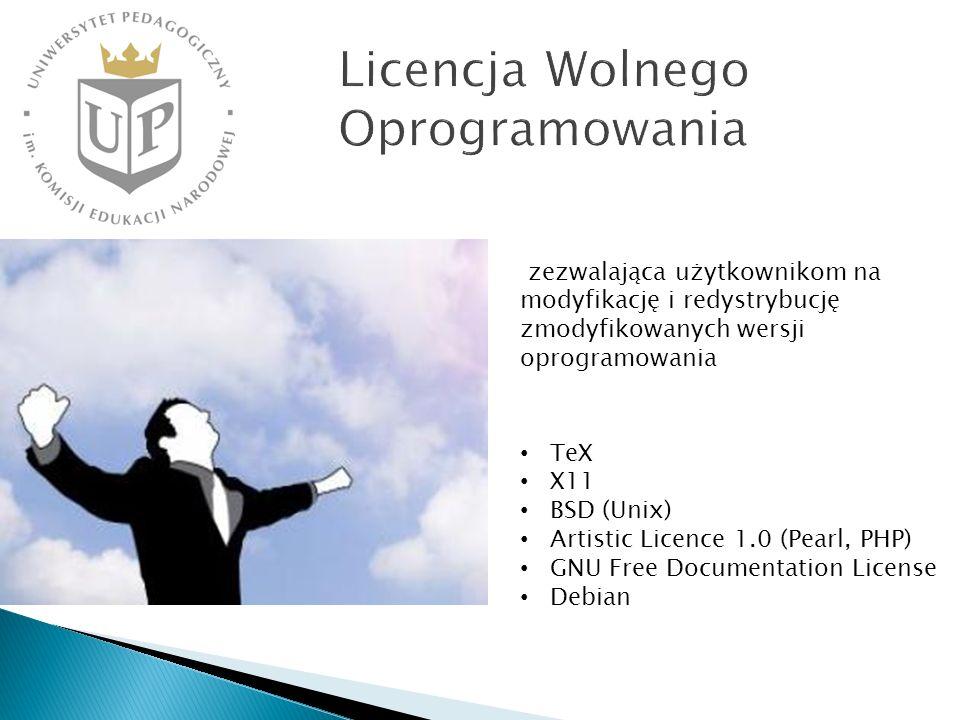 TeX X11 BSD (Unix) Artistic Licence 1.0 (Pearl, PHP) GNU Free Documentation License Debian zezwalająca użytkownikom na modyfikację i redystrybucję zmodyfikowanych wersji oprogramowania