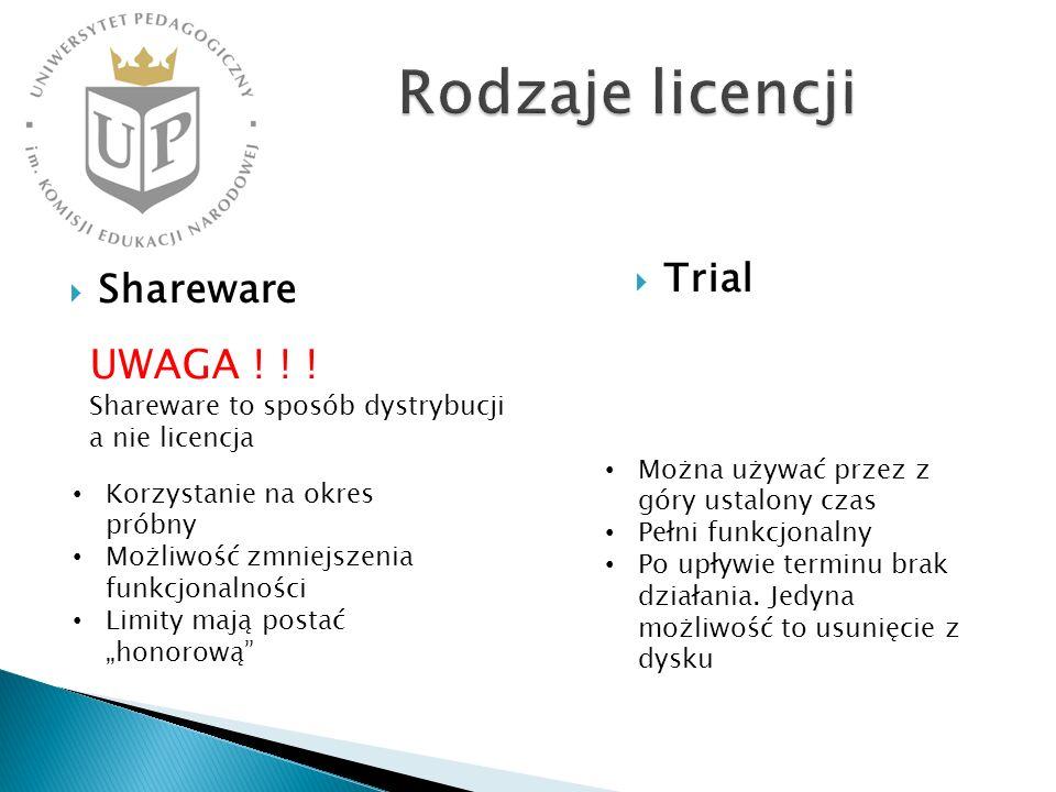 Shareware Trial Korzystanie na okres próbny Możliwość zmniejszenia funkcjonalności Limity mają postać honorową Można używać przez z góry ustalony czas Pełni funkcjonalny Po upływie terminu brak działania.