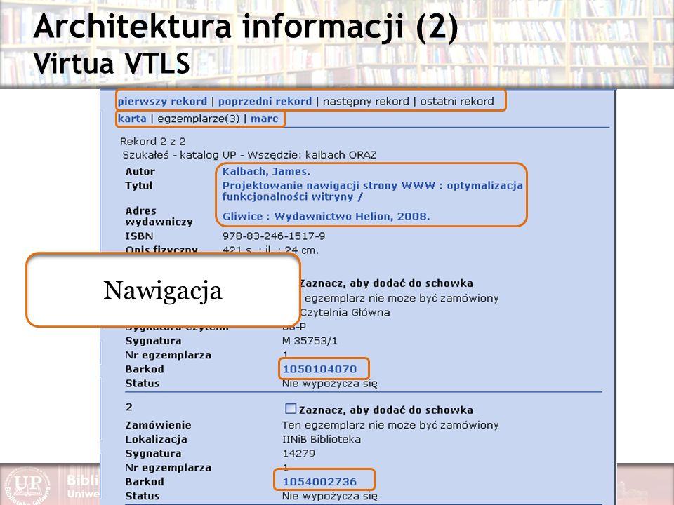 Architektura informacji (2) Virtua VTLS Nawigacja