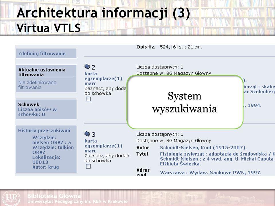 Architektura informacji (3) Virtua VTLS System wyszukiwania