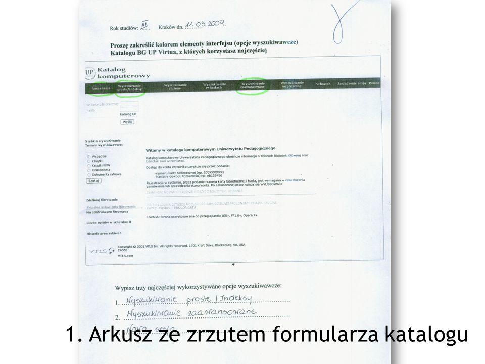 1. Arkusz ze zrzutem formularza katalogu