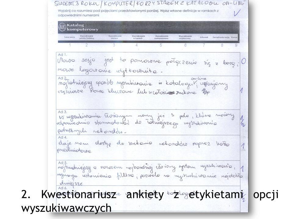 2. Kwestionariusz ankiety z etykietami opcji wyszukiwawczych