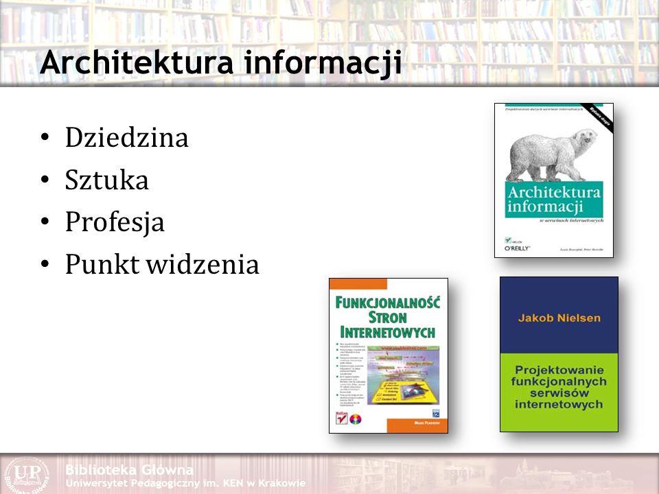 Architektura informacji Dziedzina Sztuka Profesja Punkt widzenia