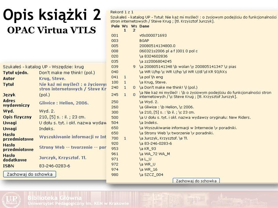 Opis książki 2 OPAC Virtua VTLS
