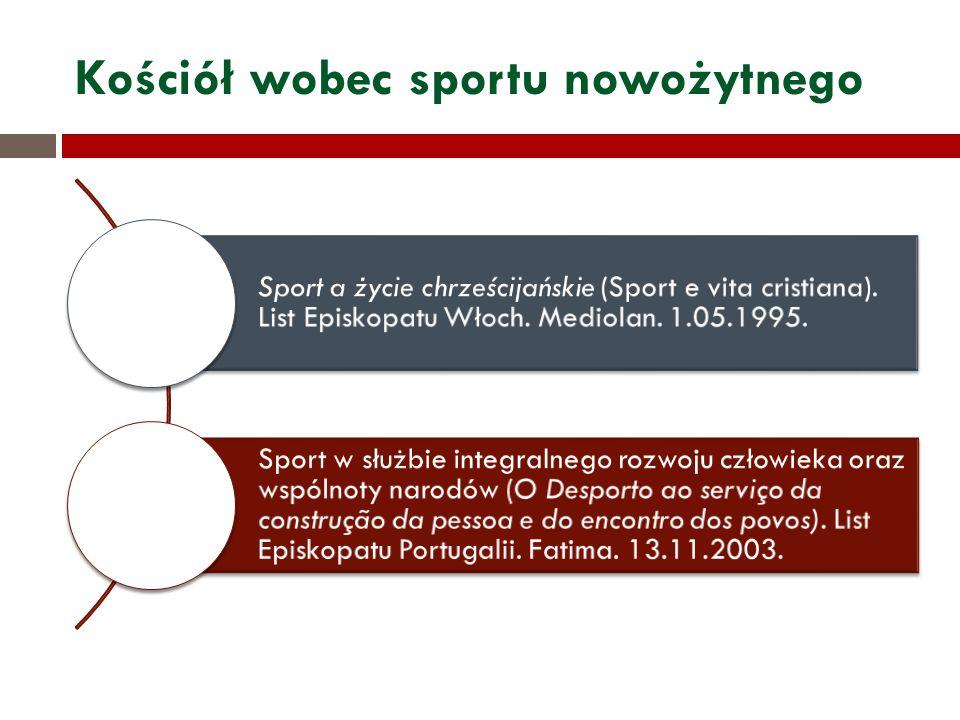 Kościół wobec sportu nowożytnego Sport a życie chrześcijańskie (Sport e vita cristiana). List Episkopatu Włoch. Mediolan. 1.05.1995. Sport w służbie i