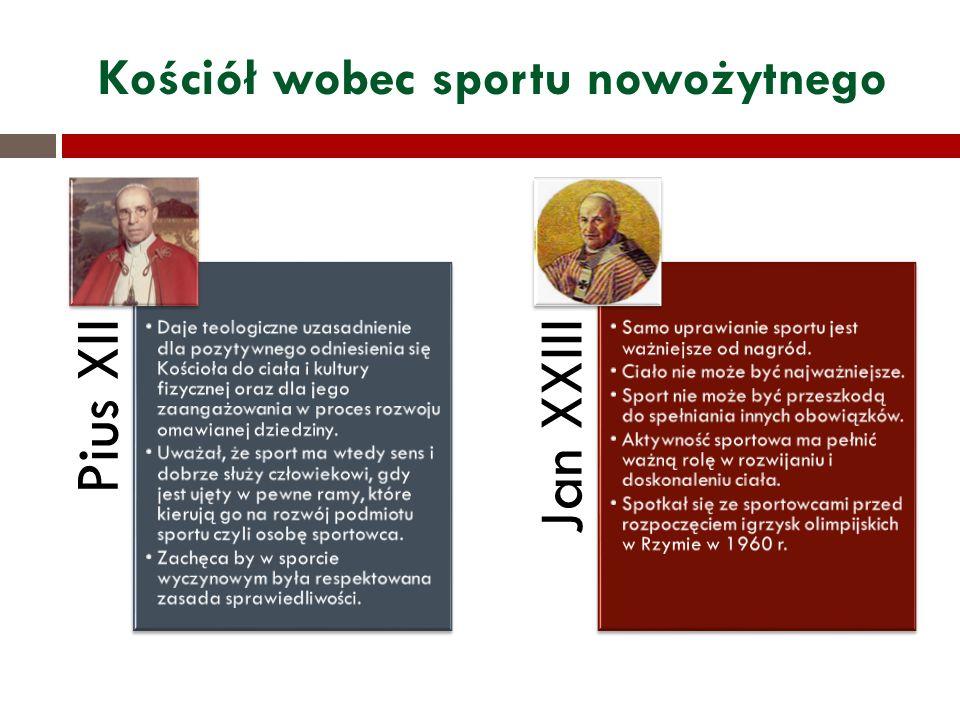 Kościół wobec sportu nowożytnego Pius XII Daje teologiczne uzasadnienie dla pozytywnego odniesienia się Kościoła do ciała i kultury fizycznej oraz dla jego zaangażowania w proces rozwoju omawianej dziedziny.
