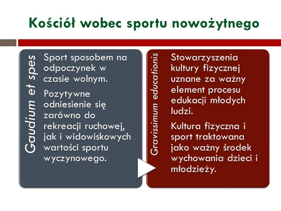 Kościół wobec sportu nowożytnego Gaudium et spes Sport sposobem na odpoczynek w czasie wolnym. Pozytywne odniesienie się zarówno do rekreacji ruchowej