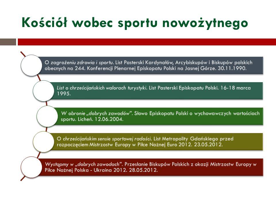 Kościół wobec sportu nowożytnego O zagrożeniu zdrowia i sportu.