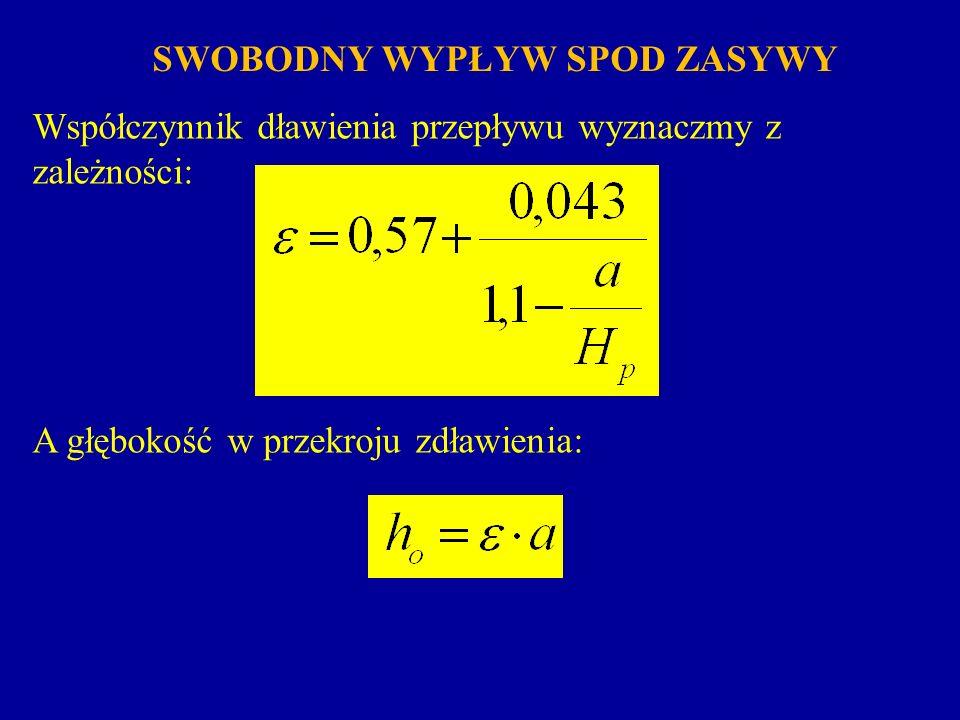 Przyjęto oznaczenia: b – szerokość koryta, m; a – wysokość podniesienia zasuwy, m; H p – wysokość piętrzenia wody, m; – współczynnik dławieni; – współczynnik prędkości; – współczynnik wydatku.