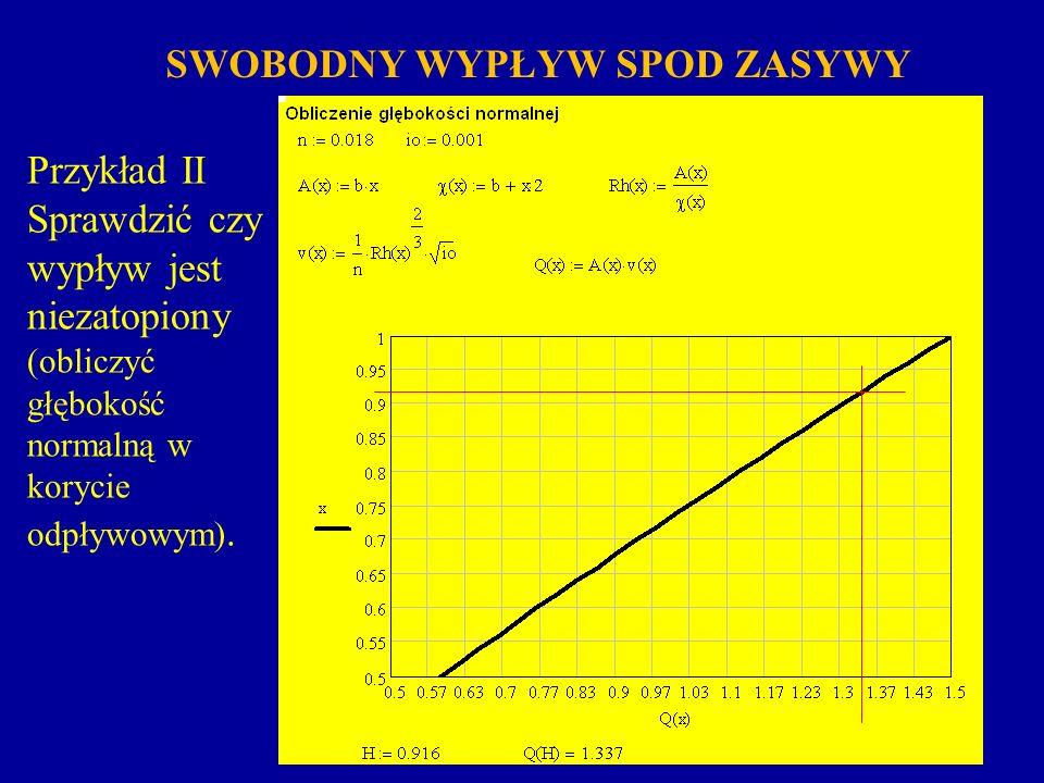 Wypływ spod zasuwy jest niezatopiony jeżeli jest spełniony warunek (odskok hydrauliczny powstanie w pewnej odległości od zasuwy): SWOBODNY WYPŁYW SPOD ZASYWY W przykładzie II wypływ spod zasuwy jest niezatopiony.