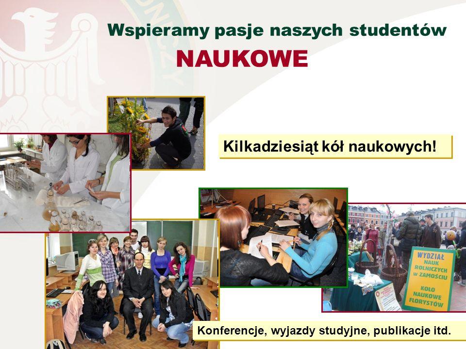 Wspieramy pasje naszych studentów NAUKOWE Kilkadziesiąt kół naukowych! Konferencje, wyjazdy studyjne, publikacje itd.