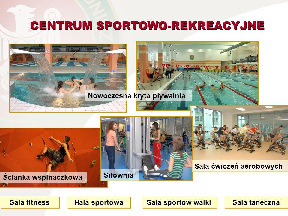 CENTRUM SPORTOWO-REKREACYJNE Nowoczesna kryta pływalnia Hala sportowa Sala fitness Sala sportów walki Ścianka wspinaczkowa Sala taneczna Sala ćwiczeń