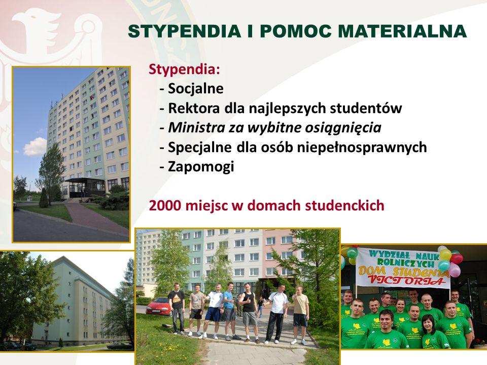 Stypendia: - Socjalne - Rektora dla najlepszych studentów - Ministra za wybitne osiągnięcia - Specjalne dla osób niepełnosprawnych - Zapomogi 2000 mie