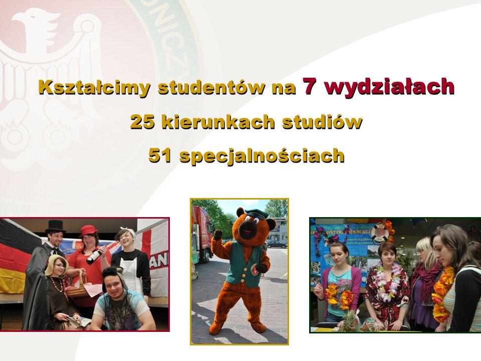 Kształcimy studentów na 7 wydziałach 25 kierunkach studiów 51 specjalnościach Kształcimy studentów na 7 wydziałach 25 kierunkach studiów 51 specjalnoś